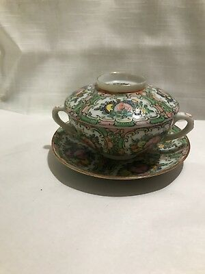 Antique Chinese Export Rose Medallion 3 piece Covered Bowl Soup Tea Rice Marked