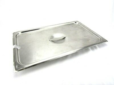"""Stainless Steel Slotted Lid Cover for Full Sized Steam Table Pans 21 L x 13"""" W"""