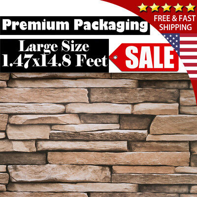 Brick Stone Wallpaper Self Adhesive 3D Wall Decor Removable 1.47x14.8FT Art Home