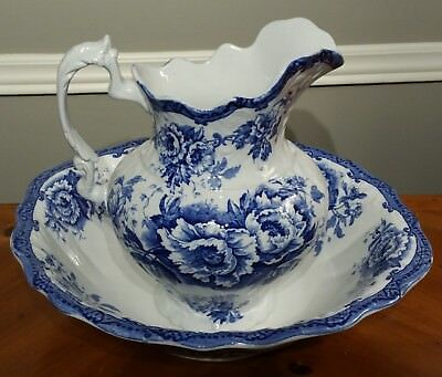 c. 1900 Blue Transferware Jug and Basin Set by F. Winkle/Colonial Pottery