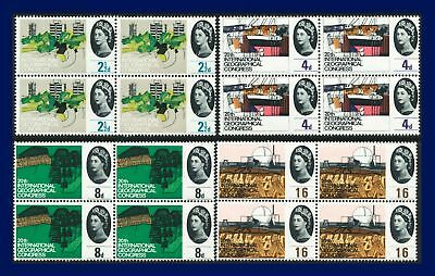 1964 SG651-654 2½d-1s6d Geographical Congress Set Blocks of 4 MNH Cat £18 aiek
