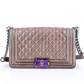 93d038d7b441 CHANEL LE BOY Bronze Goatskin Iridescent Rainbow Hardware Bag ...
