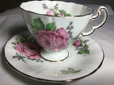 Adderley Bone China Cup And Saucer England     White/roses