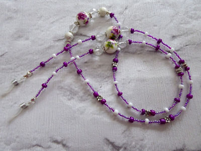 * Ceramic Flower * Glasses Chain  Spectacles Holder  Eyeglass Strap  Beaded Cord