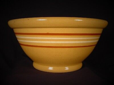 Very Rare Large American Antique 14 Inch 4 Banded Bowl Yellow Ware Mint