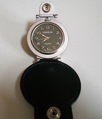 Men's Dark Green Leather Band  Clip On Silver Tone Fashion numbers Pocket Watch