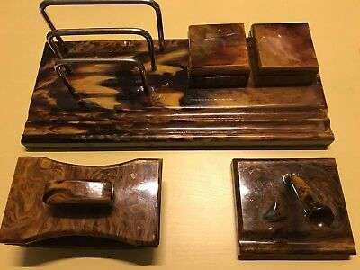 ANTIQUE ART DECO  BAKELITE CATALIN INKWELL WRITING DESK SET BEGINNING OF 20th C.