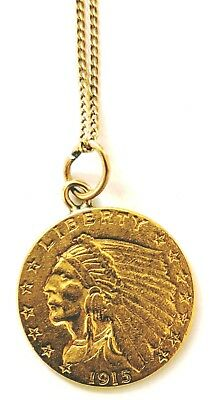 1915 Gold Quarter Eagle Indian Head $2.50 Liberty with Gold Chain Attached