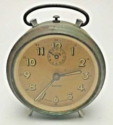 Antique Vintage early Swiza Swiss made alarm clock bedside travel paper face
