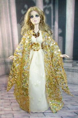"**OOAK** ~  IVORY & GOLD - DRESS & COAT ~ For 18"" EVANGELINE GHASTLY by Judy"