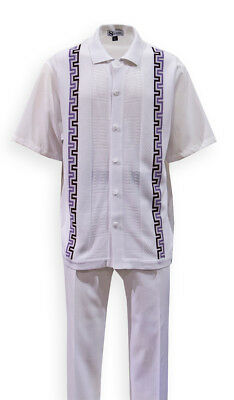 Mens/' Summer Leisure Suit// Walking Suit with check design Gray Milano stye 2953