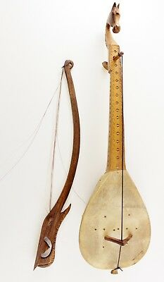 Antique Hand Carved Gusle String Instrument With Sliding Bow Horse Crest