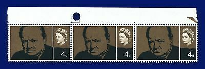 1965 SG661 4d Churchill Commemoration Strip (3) with Boxed Guide Hole MNH alrc