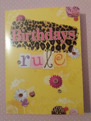 LEOPARD FLORAL CARD FAST FREE NEXT DAY DELIVERY 12x17cm HAPPY GREETING UK