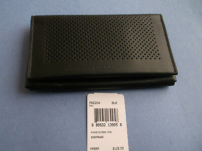 Coach Mens' Universal Perforated Leather Phone Case Wallet F65204 Black Nwt