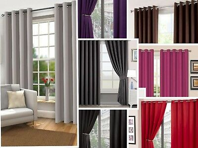 Curtains Blackout Thermal Eyelet Ring Top Fully Lined Solar Pair Ready Made Ties