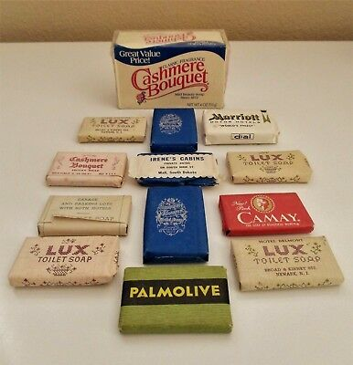 Vtg Full Sz.& Mini CASHMERE BOUQUET Soap Bar Advertising  LUX--CAMAY Lot of 13