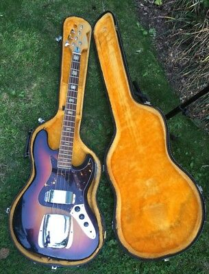 RARE VINTAGE LIVE WIRES ORIGINAL 60's LAWSUIT 4-STRING JAZZ BASS SUNBURST W/CASE