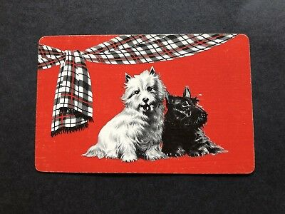 Swap Cards Vintage Scottie Dogs with Tartan Red Background