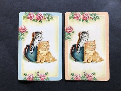 Swap Cards Vintage Kittens with Vase Pot and Roses