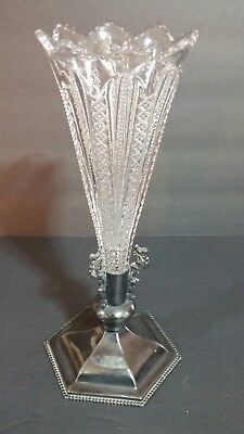 Eapg Mardi Gras Epergne Glass Vase Van Bergh Silver Plate Marked Base