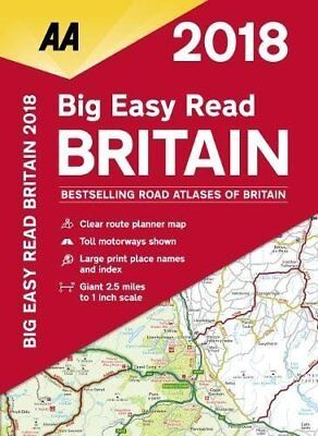 AA Big Easy Read Road Atlas Britain 2018 Travel Guide Map New Spiral Bound Book