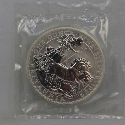 1999 Silver Britannia 1 oz Coin BU Great Britain in Mint Cello Packaging #009