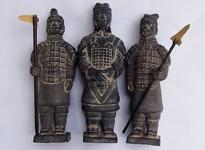 "3 Chinese Terracotta Clay Xian Warrior Soldier Figurines 5"" RARE"