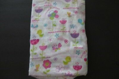 Disney Baby Girls Fitted Crib Sheet Flowers Butterflies Birds Great Condition!