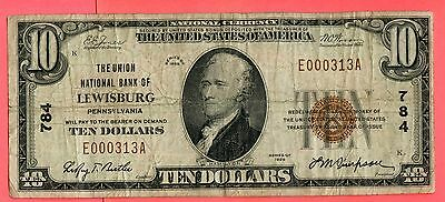 1929 Series Ten Dollars National Currency Note. SERIAL#000313 !! LOT#358