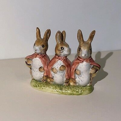 "Beatrix Potter ""FLOPSY MOPSY AND COTTONTAIL"" Figurine Beswick England"