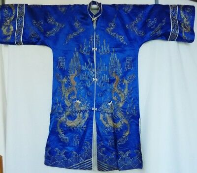 ANTIQUE VTG CHINESE SILK 5 CLAW DRAGON GOLD Embroidered ROBE M Blue Metallic