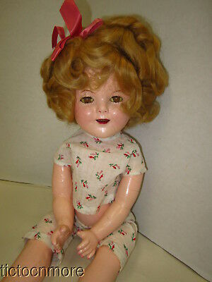 "Antique Ideal Shirley Temple Character Doll Composition Sleepy Eye 16"" Original"