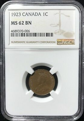 1923 Cent - Ngc Ms 62 Bn - Canada - Key Date