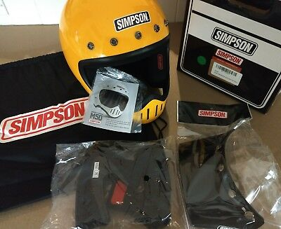 New Simpson M50 Motorcycle Helmet Yellow Sml, Dot Rated W/ 5-Snap Visor, #m50Ds6