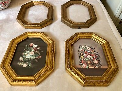 Vintage Italian Florentine gold gilt framed prints with 2 extra gold gilt frames