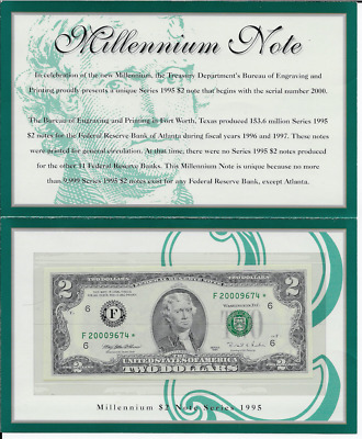 1995 $2 Two Dollar Millennium Series 2000 Star Federal Reserve Note