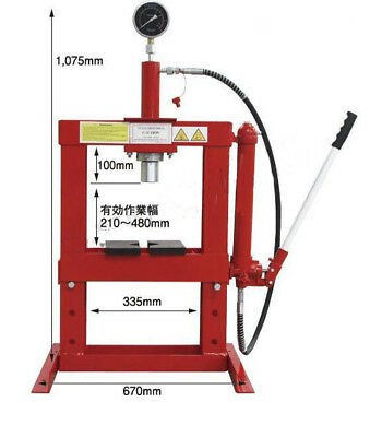 Sale Red Manual 10 Ton Hydraulic Frame Bench Top Floor Press with Pressure Gauge