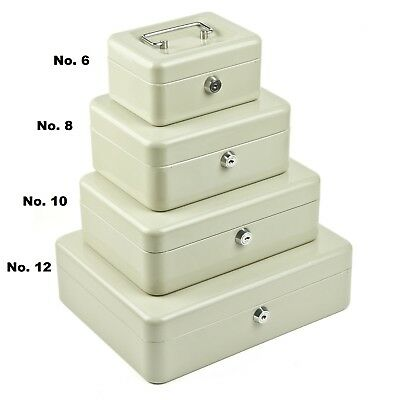 Petty Cash Box 12In 300 X 230 Beige Tin Counter Deed Container Key
