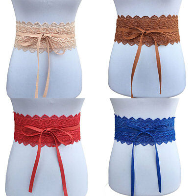 Womens Soft Leather Wide Self Tie Wrap Around Obi Waist Band Boho Dress Belt US