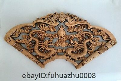 Art ! Chinese Hand Carved Statue Camphor Wood Plate Wall Sculpture