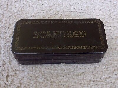 """Antique -- Standard Sewing Machine Attachment Metal Box -- """"collectible"""""""