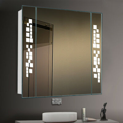 Large Bathroom Mirror Cabinet With Led Lighted Shaver Socket Demister Pad Sensor