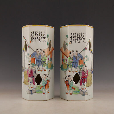 Chinese Old Marked Famille Rose Kids Story Six Party Porcelain Hat Stand Vases
