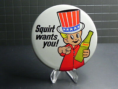 Squirt Soda Pin Back Button Squirt Wants You Patriotic Theme USA Uncle Sam