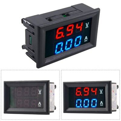 1PC Blue + Red LED Dual Digital Volt Amp Meter Gauge/ Voltmeter Ammeter