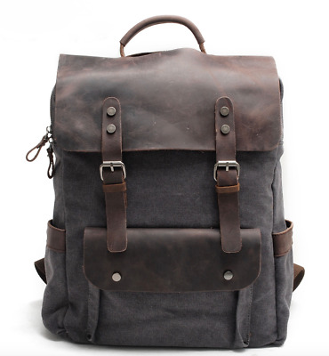 Heavy Duty Canvas backpack. Travel backpack. Uni backpack. Leather Rucksack