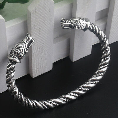 Viking Double Wolves Head Sacred Arm Ring Bracelet SILVER Vikings Bjorn Ironside
