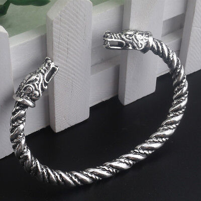 Viking Wolves Head Sacred Arm Ring Bracelet SILVER Vikings Ragnar Lothbrok  NEW