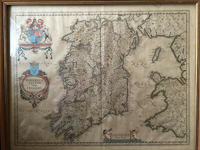 Hibernia Regnum Antique Map Of Ireland Signed Blaeu
